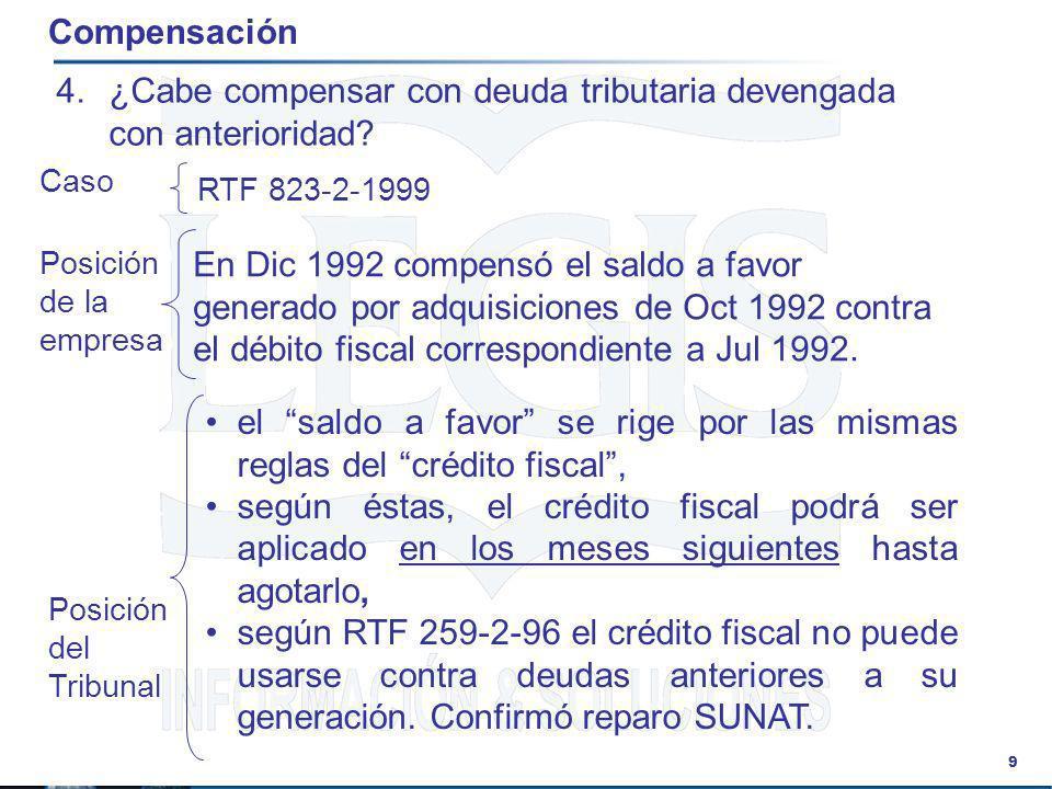 9 Compensación 4.¿Cabe compensar con deuda tributaria devengada con anterioridad? En Dic 1992 compensó el saldo a favor generado por adquisiciones de