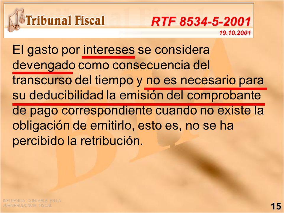 INFLUENCIA CONTABLE EN LA JURISPRUDENCIA FISCAL 15 RTF 8534-5-2001 19.10.2001 El gasto por intereses se considera devengado como consecuencia del tran