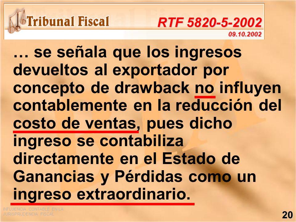 INFLUENCIA CONTABLE EN LA JURISPRUDENCIA FISCAL 20 RTF 5820-5-2002 09.10.2002 … se señala que los ingresos devueltos al exportador por concepto de dra