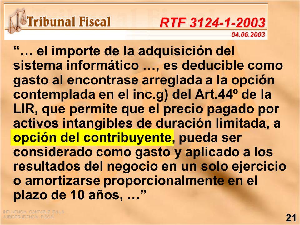 INFLUENCIA CONTABLE EN LA JURISPRUDENCIA FISCAL 21 RTF 3124-1-2003 04.06.2003 … el importe de la adquisición del sistema informático …, es deducible c