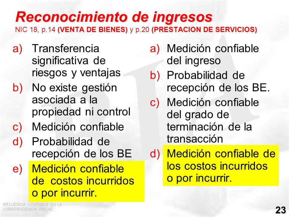 INFLUENCIA CONTABLE EN LA JURISPRUDENCIA FISCAL 23 Reconocimiento de ingresos (VENTA DE BIENES) (PRESTACION DE SERVICIOS) Reconocimiento de ingresos N