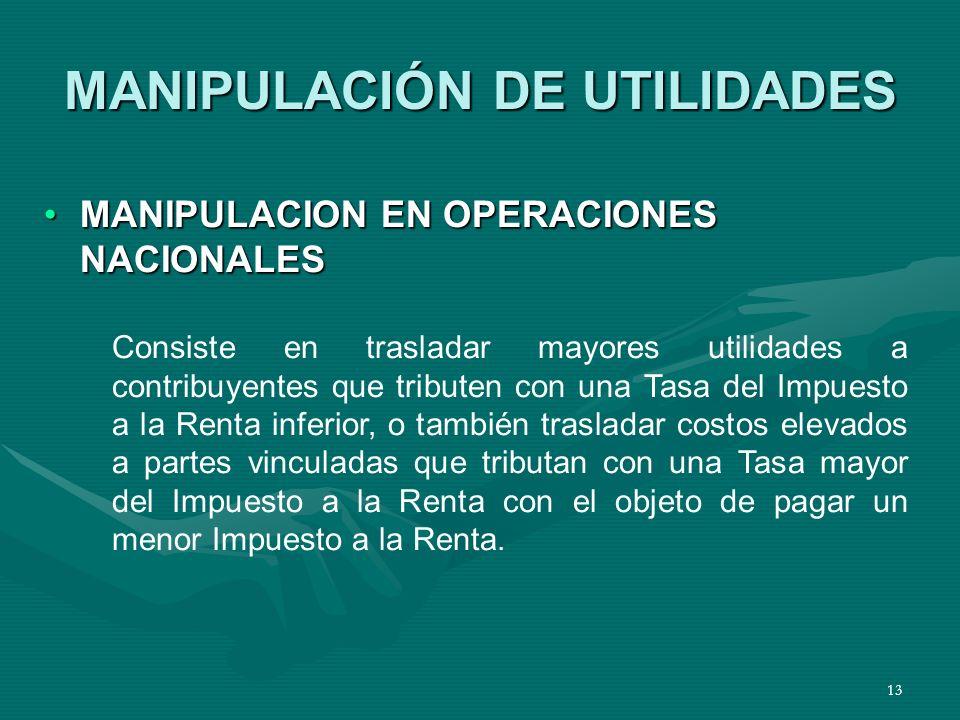 13 MANIPULACIÓN DE UTILIDADES MANIPULACION EN OPERACIONES NACIONALESMANIPULACION EN OPERACIONES NACIONALES Consiste en trasladar mayores utilidades a