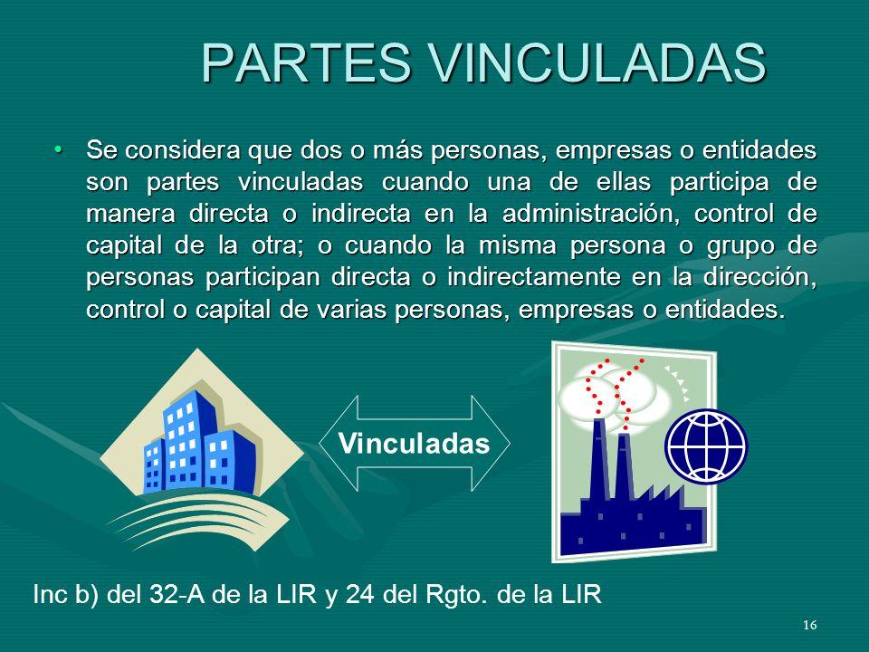 16 PARTES VINCULADAS Se considera que dos o más personas, empresas o entidades son partes vinculadas cuando una de ellas participa de manera directa o