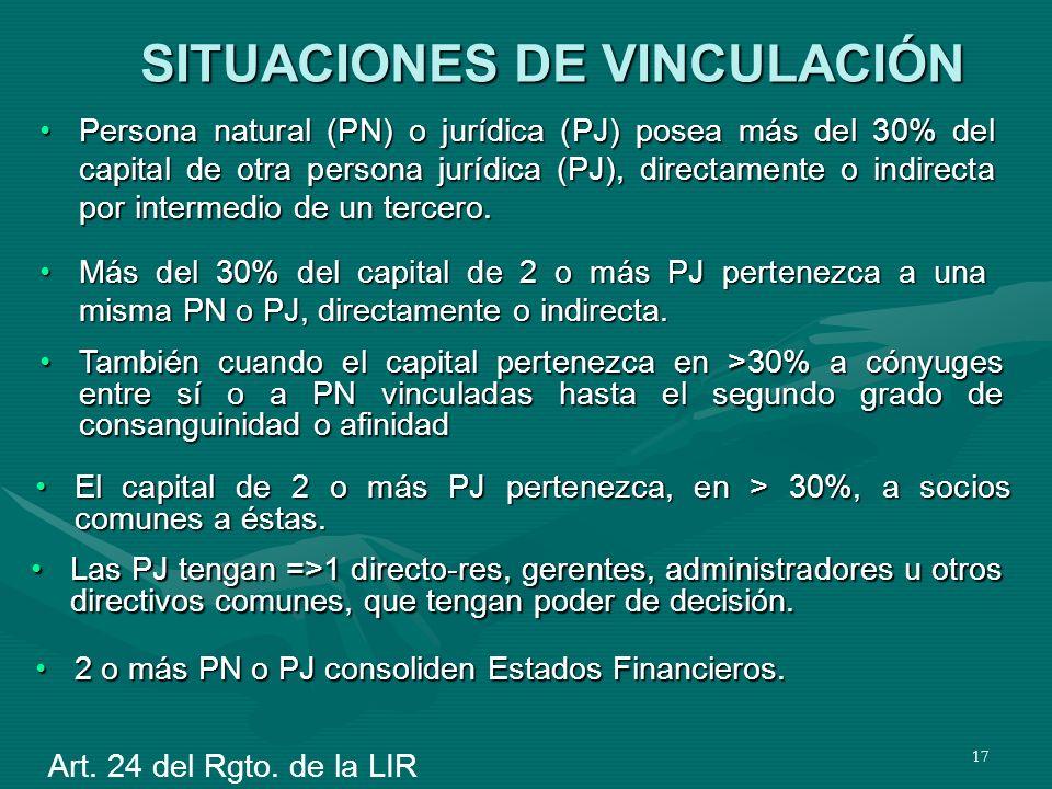 17 SITUACIONES DE VINCULACIÓN Persona natural (PN) o jurídica (PJ) posea más del 30% del capital de otra persona jurídica (PJ), directamente o indirec