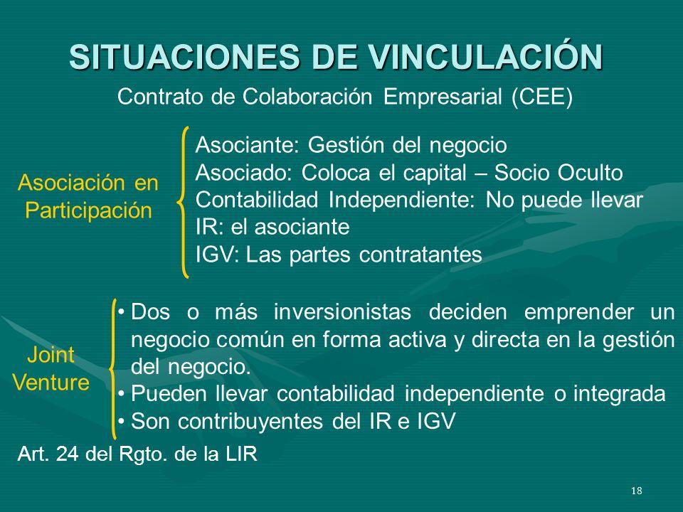 18 SITUACIONES DE VINCULACIÓN Contrato de Colaboración Empresarial (CEE) Asociación en Participación Asociante: Gestión del negocio Asociado: Coloca e