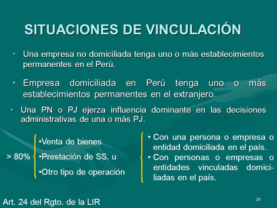 20 SITUACIONES DE VINCULACIÓN Una empresa no domiciliada tenga uno o más establecimientos permanentes en el Perú.Una empresa no domiciliada tenga uno