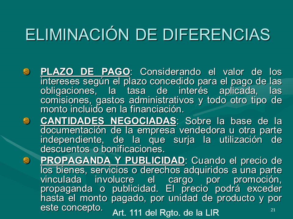 21 ELIMINACIÓN DE DIFERENCIAS PLAZO DE PAGO: Considerando el valor de los intereses según el plazo concedido para el pago de las obligaciones, la tasa