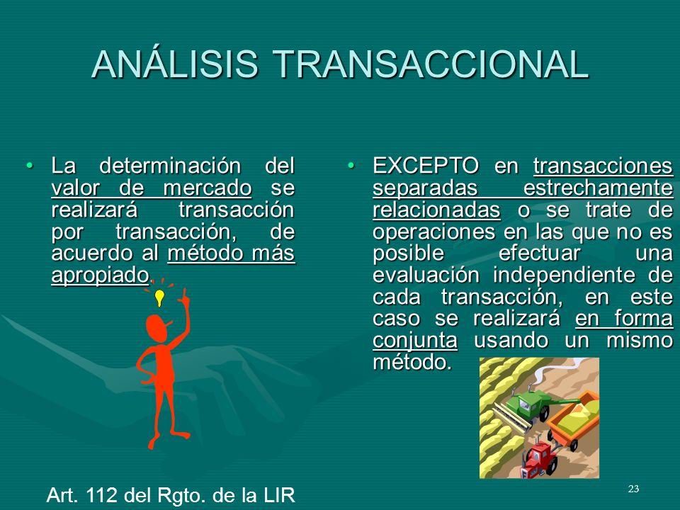 23 ANÁLISIS TRANSACCIONAL La determinación del valor de mercado se realizará transacción por transacción, de acuerdo al método más apropiado.La determ