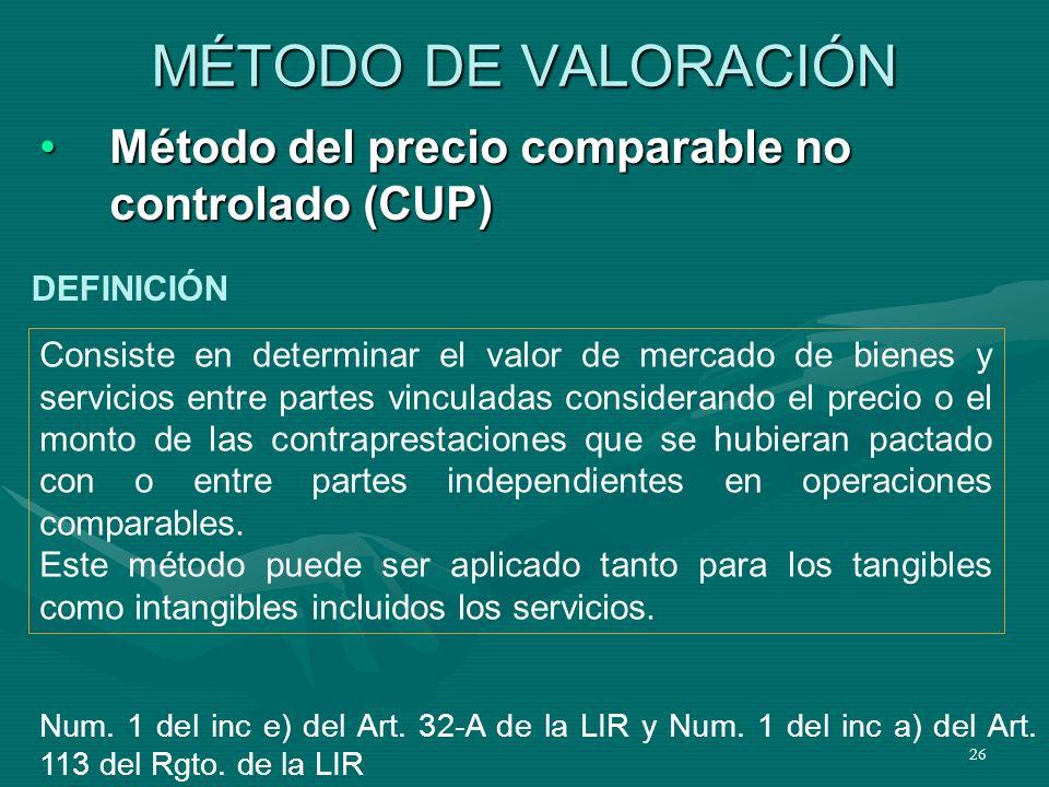 26 Método del precio comparable no controlado (CUP)Método del precio comparable no controlado (CUP) MÉTODO DE VALORACIÓN Consiste en determinar el val