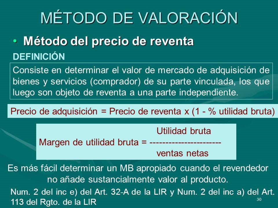 30 MÉTODO DE VALORACIÓN Método del precio de reventaMétodo del precio de reventa Consiste en determinar el valor de mercado de adquisición de bienes y