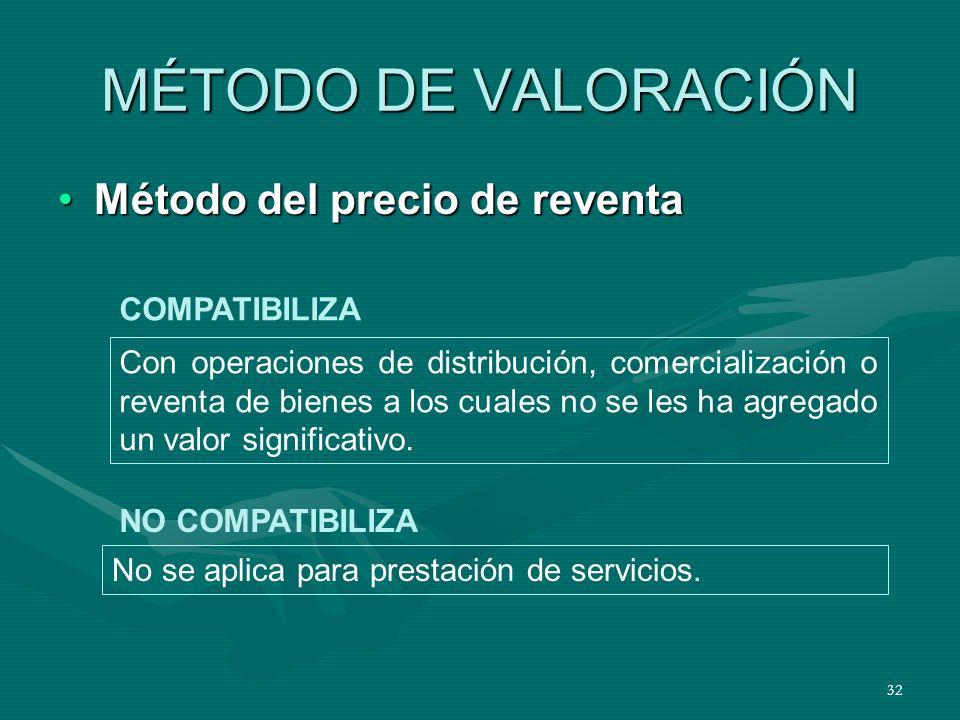 32 MÉTODO DE VALORACIÓN Método del precio de reventaMétodo del precio de reventa Con operaciones de distribución, comercialización o reventa de bienes