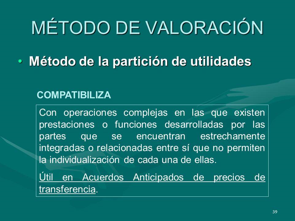 39 MÉTODO DE VALORACIÓN Método de la partición de utilidadesMétodo de la partición de utilidades Con operaciones complejas en las que existen prestaci