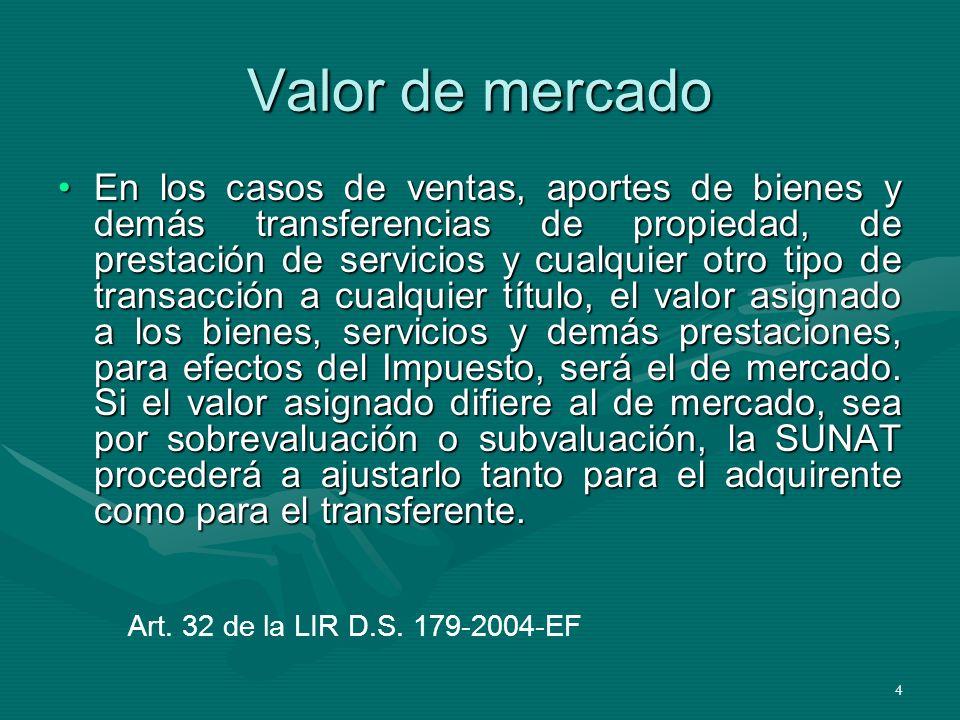 4 Valor de mercado En los casos de ventas, aportes de bienes y demás transferencias de propiedad, de prestación de servicios y cualquier otro tipo de