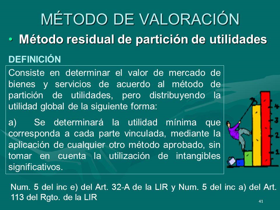 41 MÉTODO DE VALORACIÓN Método residual de partición de utilidadesMétodo residual de partición de utilidades Consiste en determinar el valor de mercad