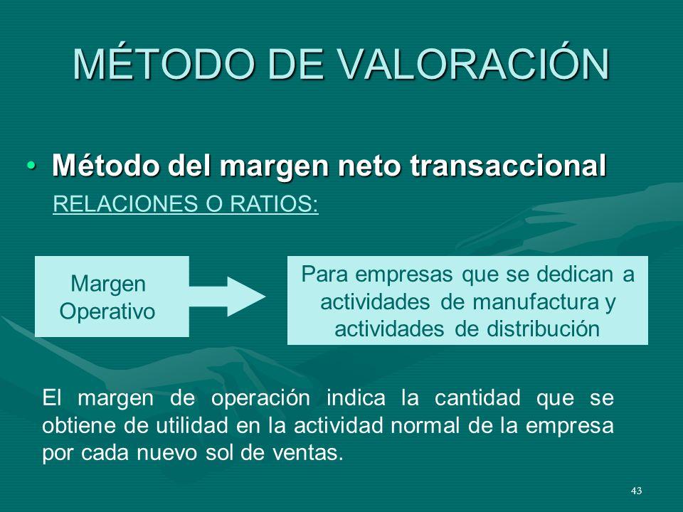 43 MÉTODO DE VALORACIÓN Método del margen neto transaccionalMétodo del margen neto transaccional RELACIONES O RATIOS: Margen Operativo Para empresas q