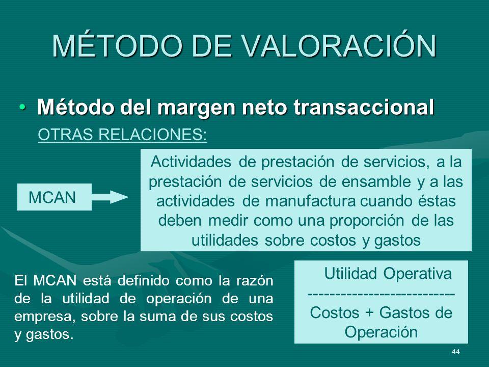 44 MÉTODO DE VALORACIÓN Método del margen neto transaccionalMétodo del margen neto transaccional MCAN Actividades de prestación de servicios, a la pre