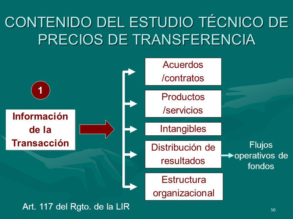 50 CONTENIDO DEL ESTUDIO TÉCNICO DE PRECIOS DE TRANSFERENCIA Acuerdos /contratos Productos /servicios Intangibles Distribución de resultados Estructur
