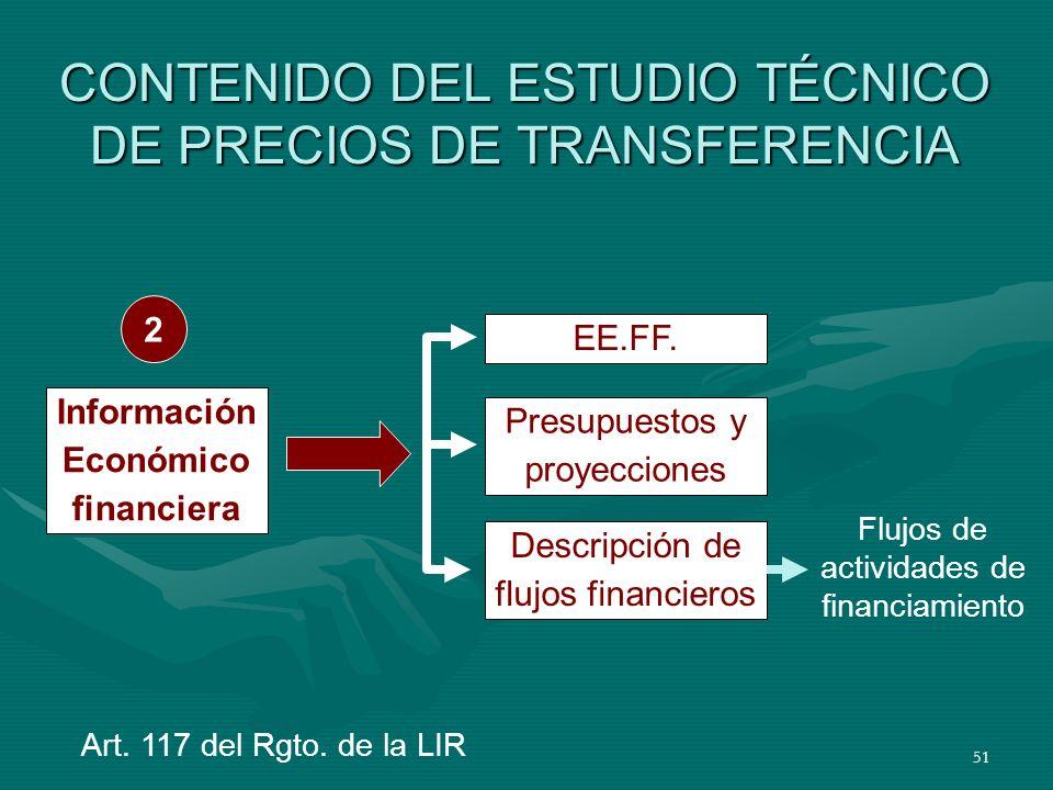 51 CONTENIDO DEL ESTUDIO TÉCNICO DE PRECIOS DE TRANSFERENCIA EE.FF. Presupuestos y proyecciones Descripción de flujos financieros Información Económic