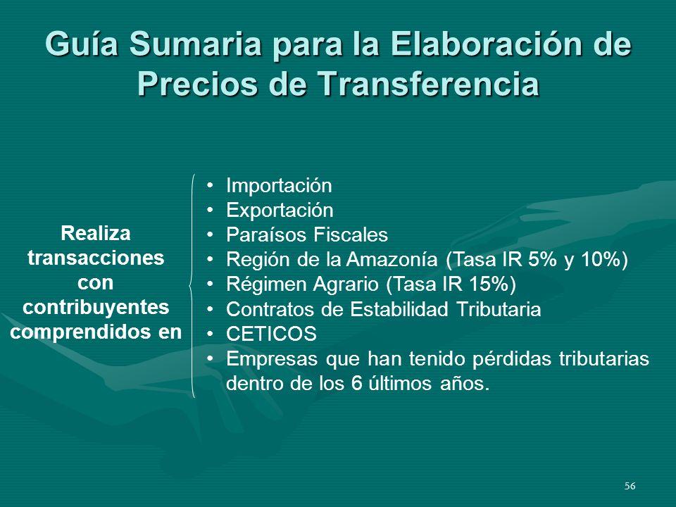 56 Guía Sumaria para la Elaboración de Precios de Transferencia Realiza transacciones con contribuyentes comprendidos en Importación Exportación Paraí