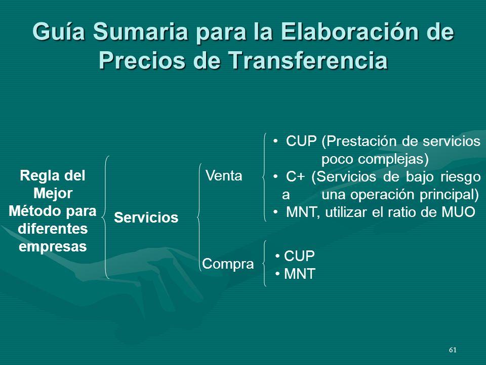 61 Guía Sumaria para la Elaboración de Precios de Transferencia Regla del Mejor Método para diferentes empresas Servicios Venta Compra CUP (Prestación