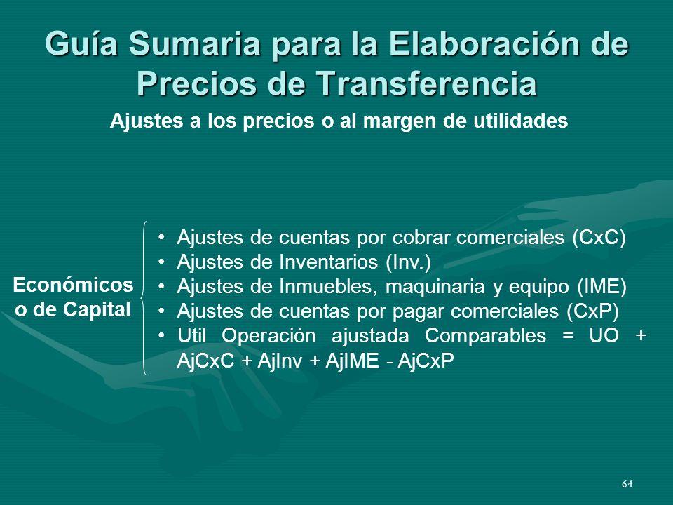64 Guía Sumaria para la Elaboración de Precios de Transferencia Económicos o de Capital Ajustes a los precios o al margen de utilidades Ajustes de cue