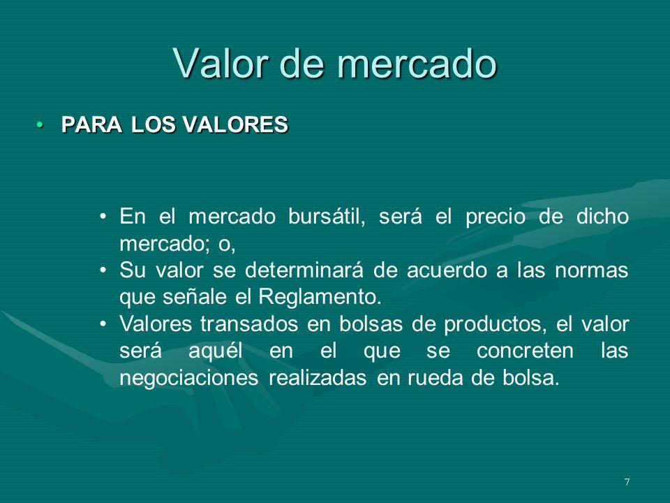 8 Valor de mercado PARA LOS BIENES DE ACTIVO FIJOPARA LOS BIENES DE ACTIVO FIJO En transacciones frecuentes en el mercado, será el de dichas transacciones; En transacciones NO frecuentes en el mercado, será el valor de tasación.