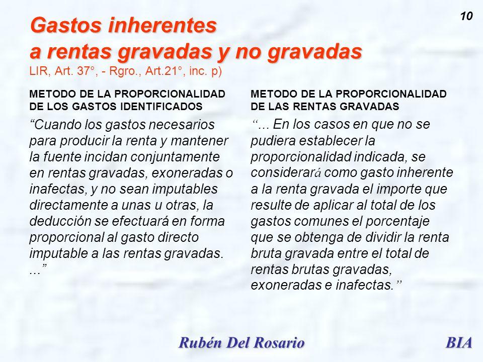 BIARubén Del Rosario 10 Gastos inherentes a rentas gravadas y no gravadas Gastos inherentes a rentas gravadas y no gravadas LIR, Art. 37°, - Rgro., Ar