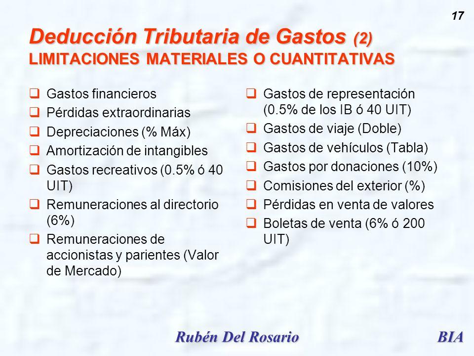 BIARubén Del Rosario 17 Deducción Tributaria de Gastos (2) LIMITACIONES MATERIALES O CUANTITATIVAS Gastos financieros Pérdidas extraordinarias Depreci