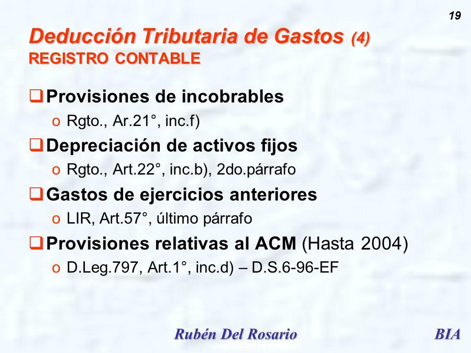 BIARubén Del Rosario 19 Deducción Tributaria de Gastos (4) REGISTRO CONTABLE Provisiones de incobrables oRgto., Ar.21°, inc.f) Depreciación de activos