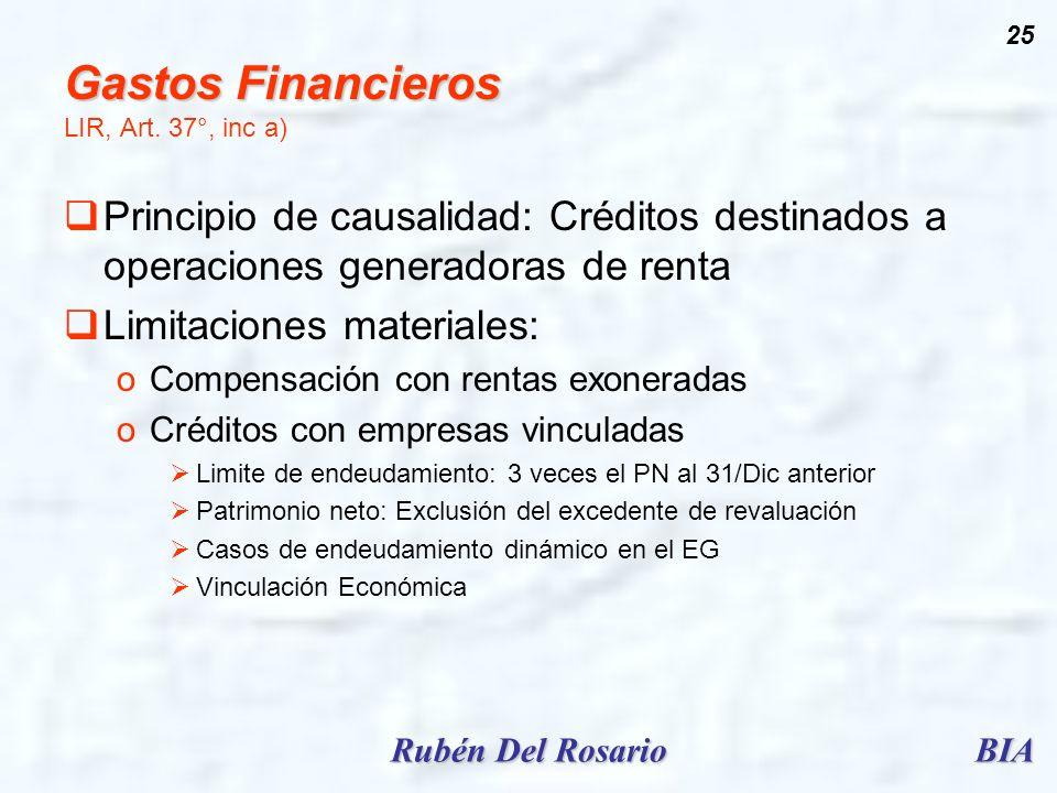BIARubén Del Rosario 25 Gastos Financieros Gastos Financieros LIR, Art. 37°, inc a) Principio de causalidad: Créditos destinados a operaciones generad