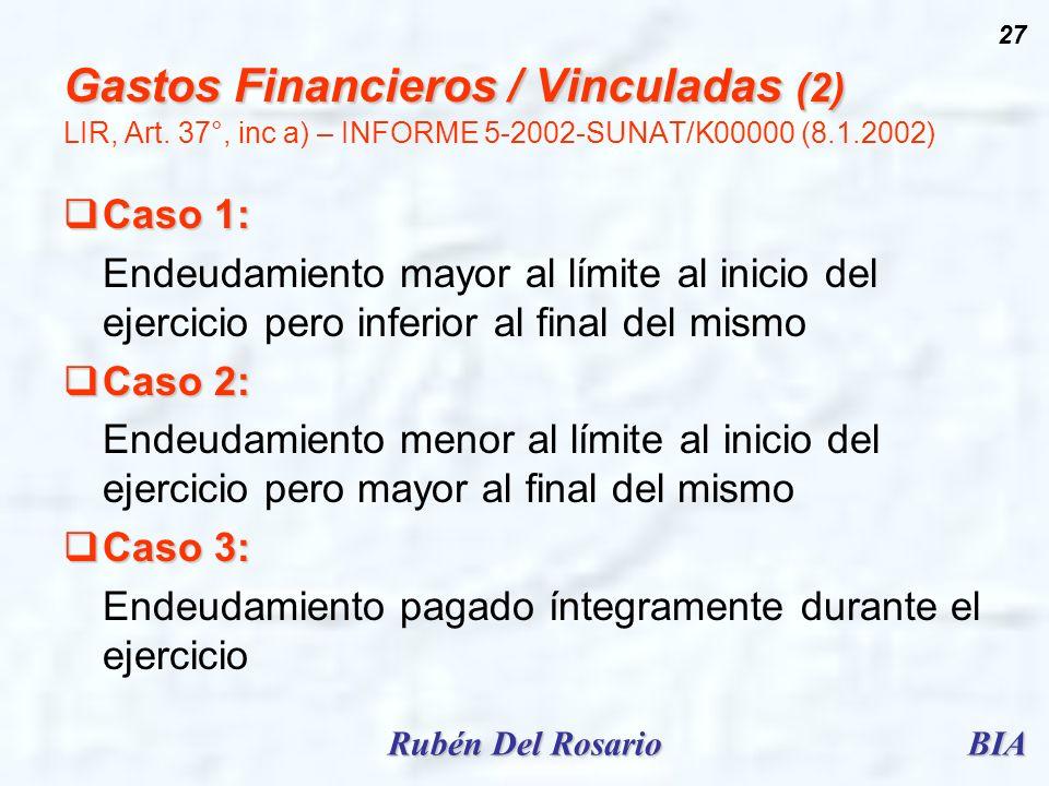 BIARubén Del Rosario 27 Gastos Financieros / Vinculadas (2) Gastos Financieros / Vinculadas (2) LIR, Art. 37°, inc a) – INFORME 5-2002-SUNAT/K00000 (8