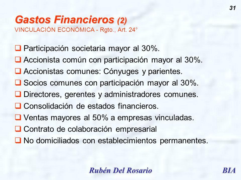 BIARubén Del Rosario 31 Gastos Financieros (2) Gastos Financieros (2) VINCULACIÓN ECONÓMICA - Rgto., Art. 24° Participación societaria mayor al 30%. A