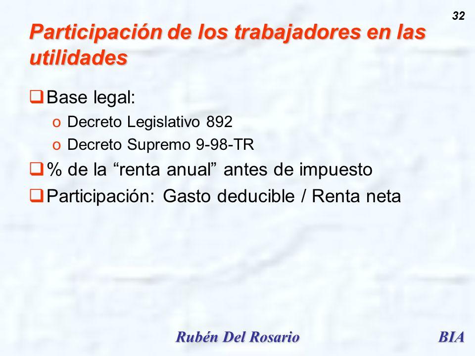 BIARubén Del Rosario 32 Participación de los trabajadores en las utilidades Base legal: oDecreto Legislativo 892 oDecreto Supremo 9-98-TR % de la rent