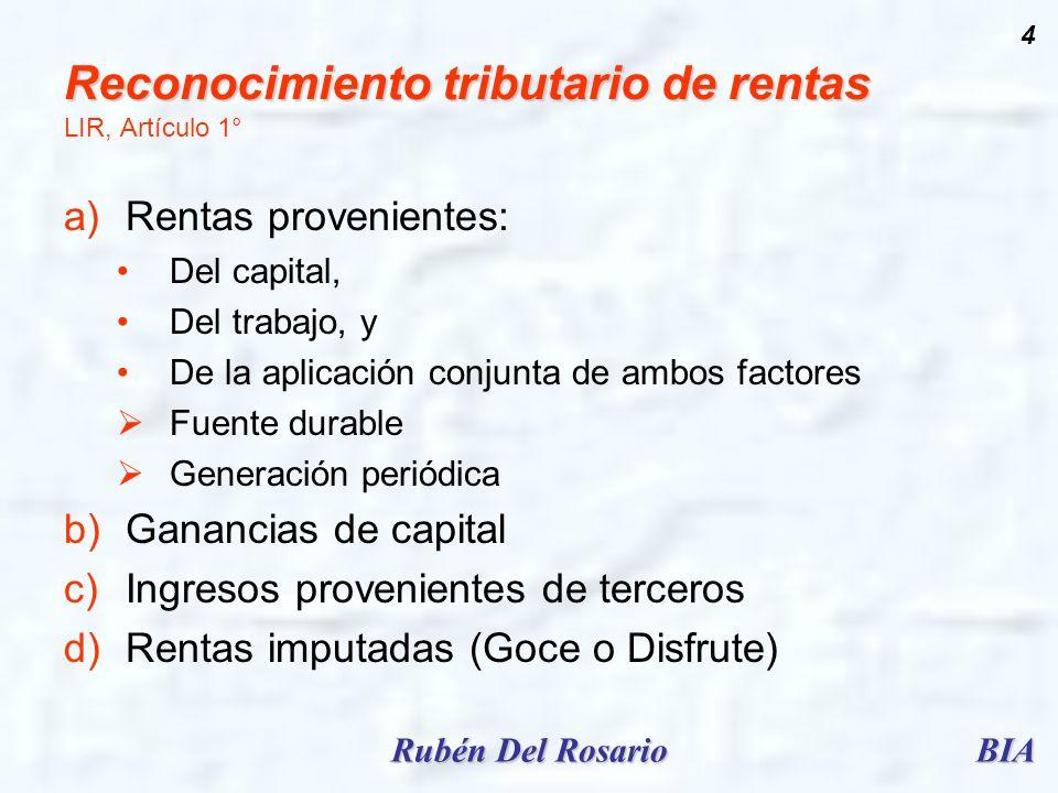 BIARubén Del Rosario 4 Reconocimiento tributario de rentas Reconocimiento tributario de rentas LIR, Artículo 1° a)Rentas provenientes: Del capital, De