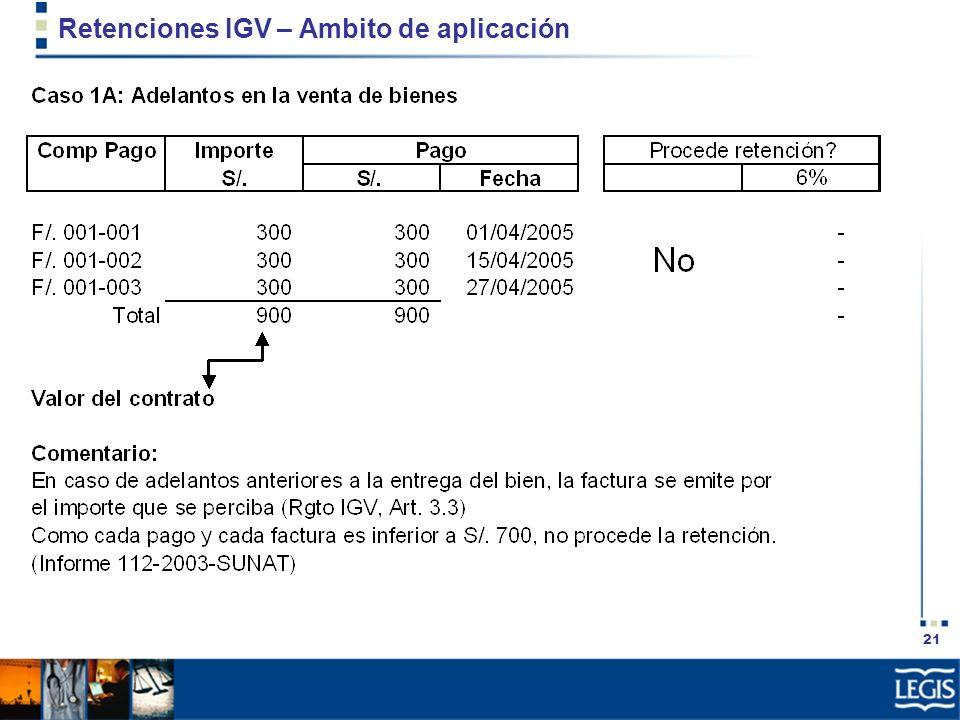 21 Retenciones IGV – Ambito de aplicación