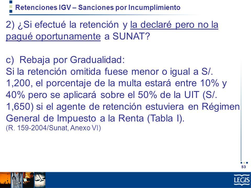 53 Retenciones IGV – Sanciones por Incumplimiento 2) ¿Si efectué la retención y la declaré pero no la pagué oportunamente a SUNAT? c) Rebaja por Gradu