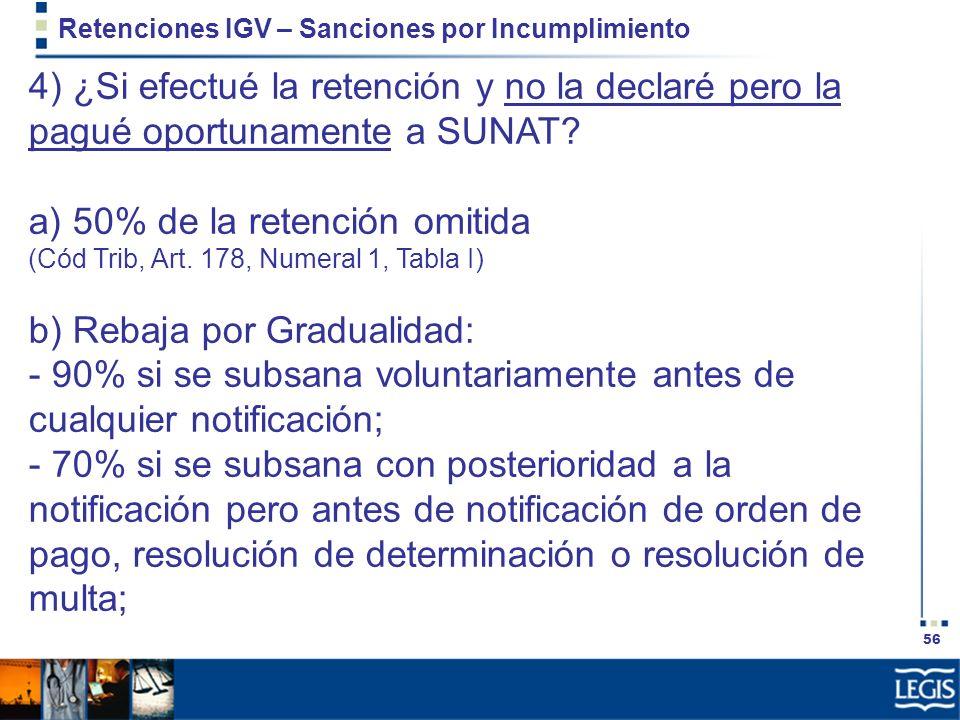 56 Retenciones IGV – Sanciones por Incumplimiento 4) ¿Si efectué la retención y no la declaré pero la pagué oportunamente a SUNAT? a) 50% de la retenc