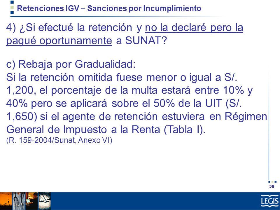 58 Retenciones IGV – Sanciones por Incumplimiento 4) ¿Si efectué la retención y no la declaré pero la pagué oportunamente a SUNAT? c) Rebaja por Gradu