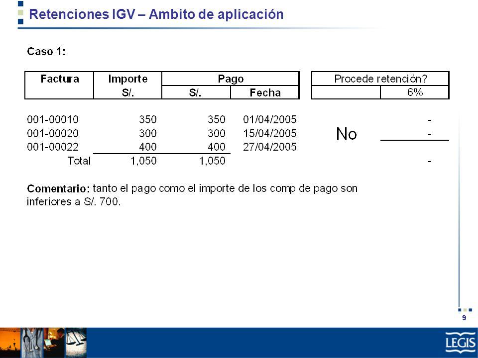 20 Retenciones IGV – Base de cálculo y tasa Suma total a que queda obligado a pagar Factura Nacimiento de la obligación del IGV Oportunidad para emitir Factura Contrato