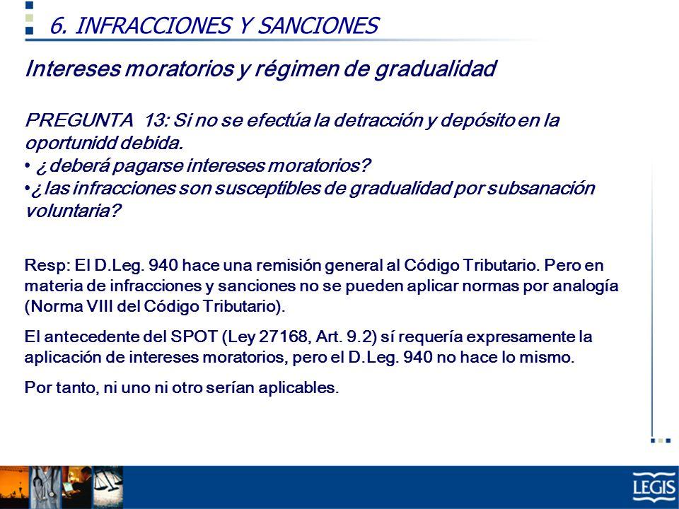 Intereses moratorios y régimen de gradualidad PREGUNTA 13: Si no se efectúa la detracción y depósito en la oportunidd debida.