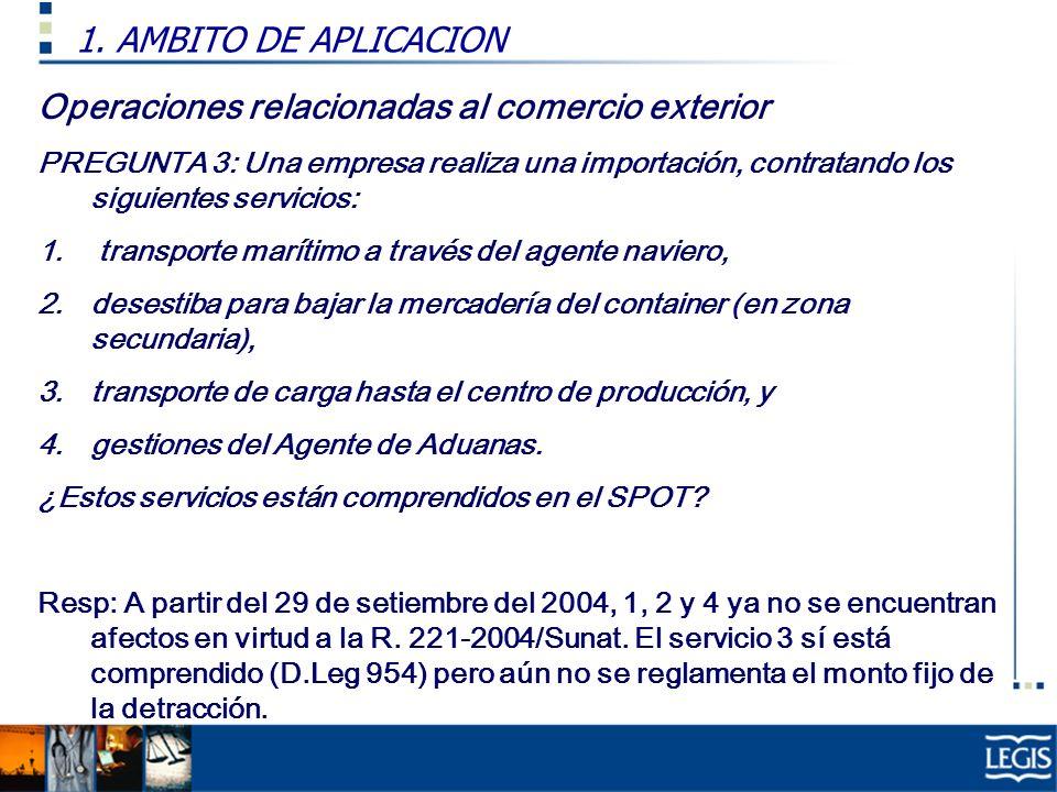 Operaciones relacionadas al comercio exterior PREGUNTA 3: Una empresa realiza una importación, contratando los siguientes servicios: 1.