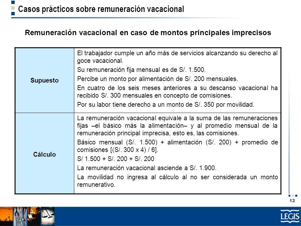 12 Casos prácticos sobre remuneración vacacional Remuneración vacacional en caso de montos principales imprecisos Supuesto El trabajador cumple un año