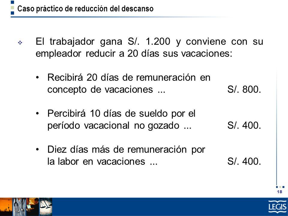 18 Caso práctico de reducción del descanso El trabajador gana S/. 1.200 y conviene con su empleador reducir a 20 días sus vacaciones: Recibirá 20 días