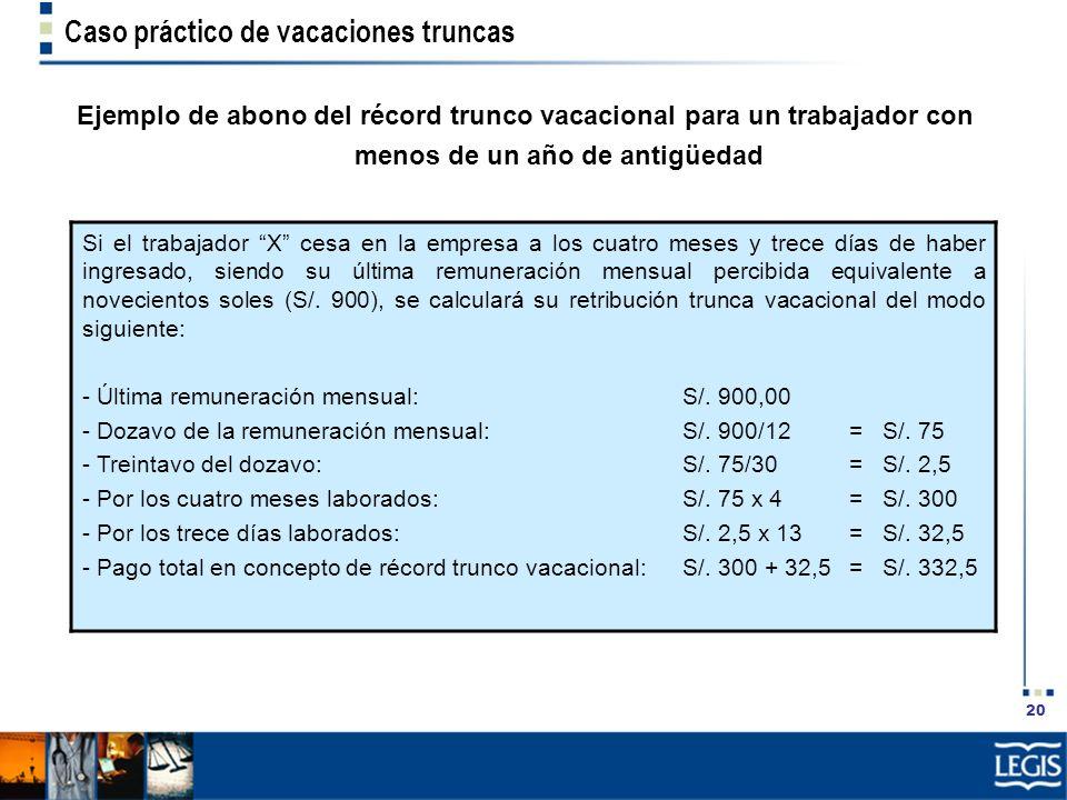 20 Caso práctico de vacaciones truncas Ejemplo de abono del récord trunco vacacional para un trabajador con menos de un año de antigüedad Si el trabaj