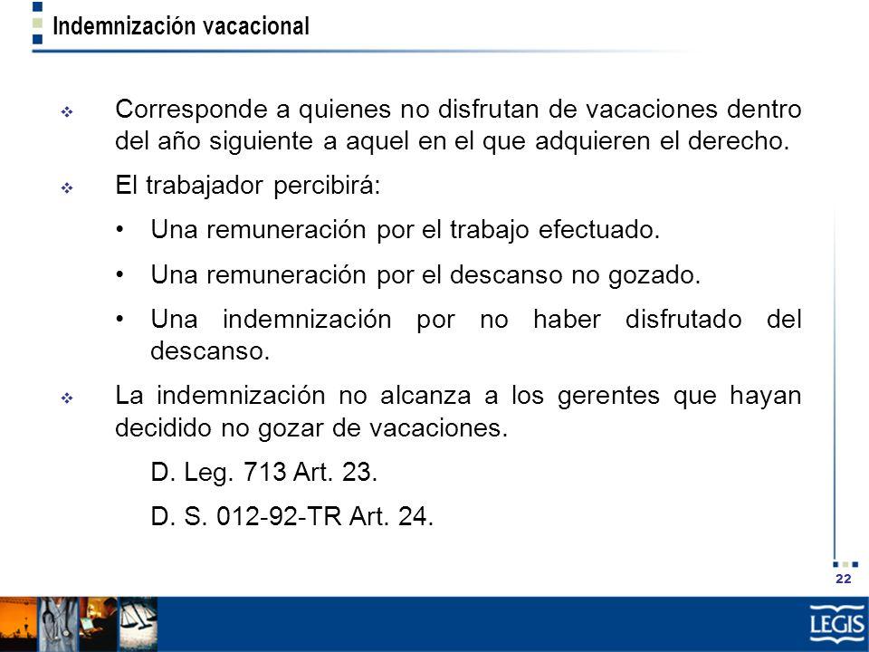 22 Indemnización vacacional Corresponde a quienes no disfrutan de vacaciones dentro del año siguiente a aquel en el que adquieren el derecho. El traba