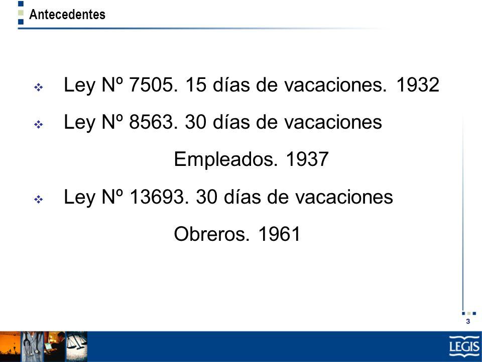 3 Antecedentes Ley Nº 7505. 15 días de vacaciones. 1932 Ley Nº 8563. 30 días de vacaciones Empleados. 1937 Ley Nº 13693. 30 días de vacaciones Obreros
