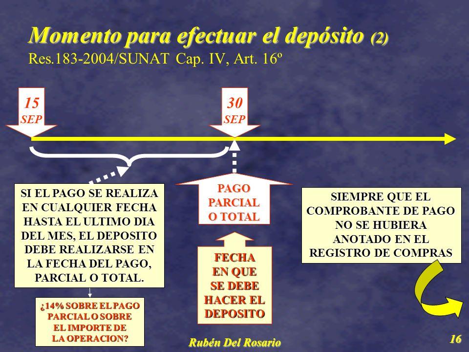 Rubén Del Rosario 17 Momento para efectuar el depósito (2) Momento para efectuar el depósito (2) Res.183-2004/SUNAT Cap.