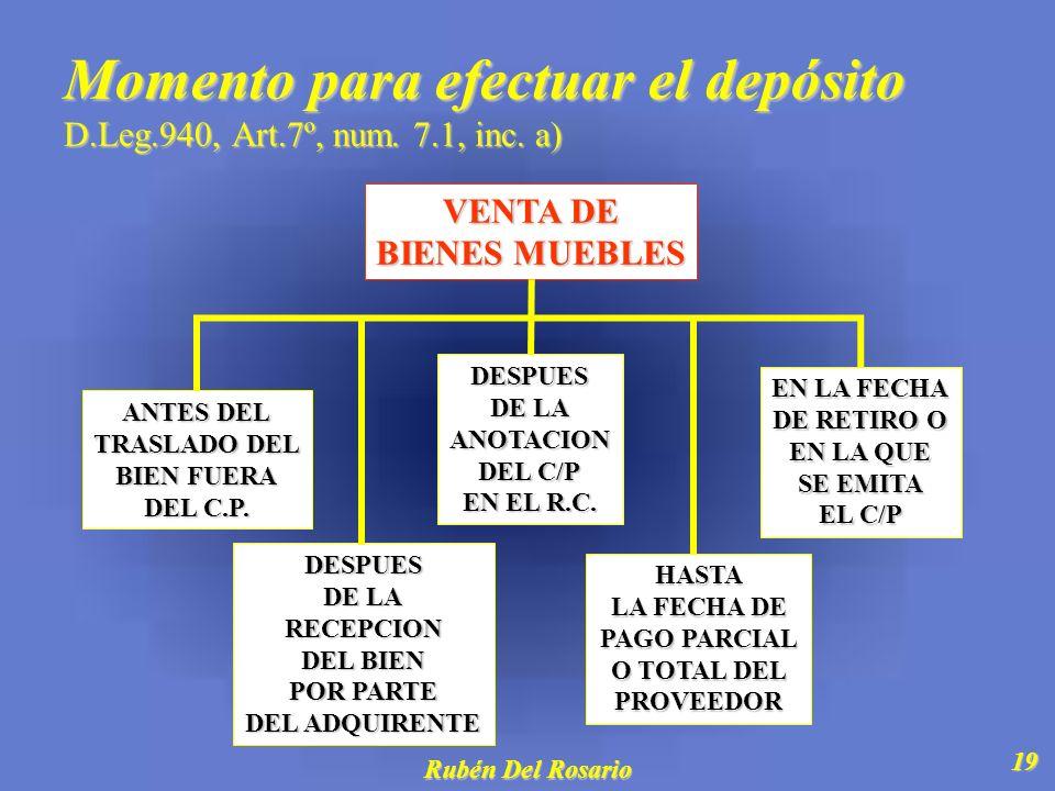 Rubén Del Rosario 20 Momento para efectuar el depósito D.Leg.940, Art.7º, num.