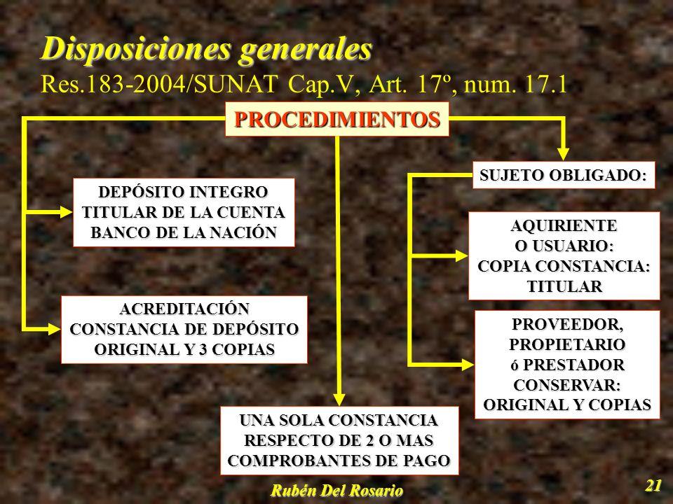 Rubén Del Rosario 22 Destino de los montos depositados Destino de los montos depositados D.Leg.940, Art.9º - Res.183-2004/SUNAT, Art.24º PAGO DEUDAS TRIBUTARIAS (CONTRIBUYENTE O RESPONSABLE) COSTAS Y GASTOS SOLICITAR LA LIBRE DISPOSICIÓN DE LO DEPOSITADO UTILIZAR LOS MONTOSDEPOSITADOS(ADQUIRENTE O USUARIO) BANCO DE LA NACION DE LA NACIONRECAUDACIÓN(MONTOSDEPOSITADOS)