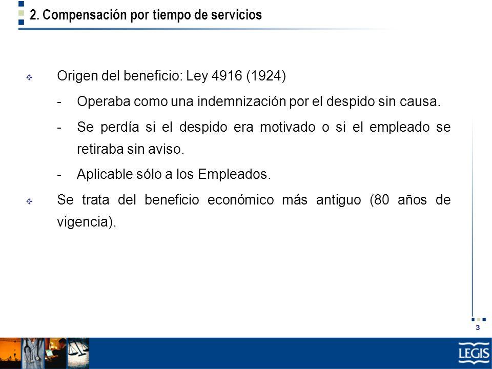 3 2. Compensación por tiempo de servicios Origen del beneficio: Ley 4916 (1924) -Operaba como una indemnización por el despido sin causa. -Se perdía s